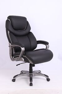 Vinmax Black Leather Executive Swivel Big Tall Office Chair