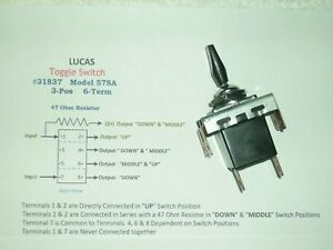 Vintage Lucas 31837 Toggle Switch 47 Ohm