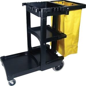 Rubbermaid Rcp617388bk Janitorial Cleaning Cart W Zippered Yellow Bag 38 3 8 H