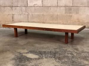 Mid Century Modern Low Profile Custom Coffee Table With Travertine Top