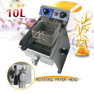 1700w Fryer Cooker Fry W Timer Drain Stainless Steel Commercial Electric Deep