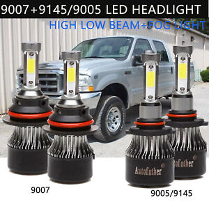9007 High low Beam Led Headlights 9145 Fog Lights Combo For Ford F 150 1999 2003