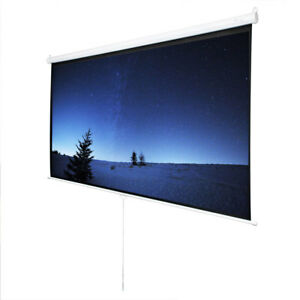 100 Projector Screen 300d 16 9 Projection Hd Manual Pull Down Home With Gift