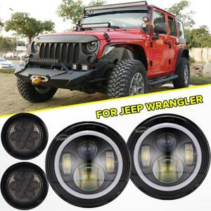 7 Led Headlight Drl Halo Angle Eyes turn Signal Light Lamp For Jeep Wrangler Jk