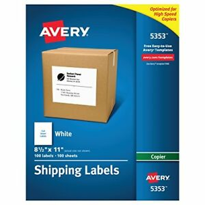 Avery Full sheet Labels For Copiers 8 1 2 X 11 Box Of 100 5353 Brand New