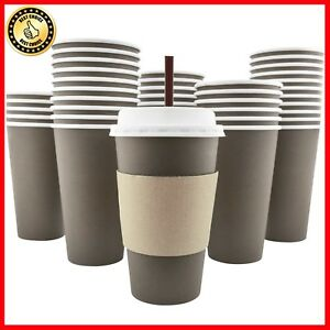 100 Pack 16 Oz 8 12 20 Disposable Hot Paper Coffee Cups Lids Sleeves St