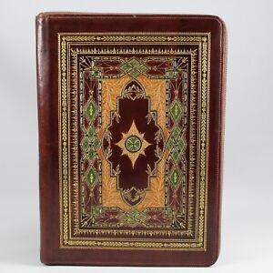 Leather Zip around Portfolio Colorful Intricate Embossed Design Padfolio Regular
