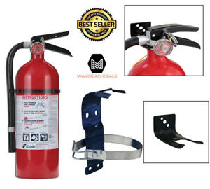 Fire Extinguisher Bundle W Mounting Bracket Home Office School Safety Emergency