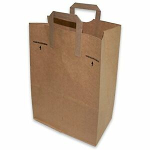 Duro Paper Retail Grocery Bags With Handles 12 X 7 17 Inches 50 Count