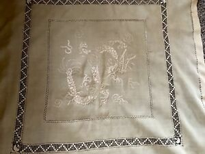 Vintage Hand Embroidered Blonde Cream Silk Chinese Dragon Table Cloth