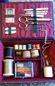 Antique German Leather Travel Sewing Box Celluloid Tools With Needles Thread