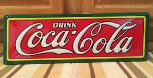 Coca Cola Embossed Drink Metal Coke Soda Jerk Fountain Bottle Can