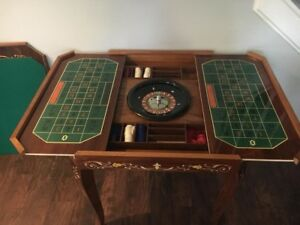 Italian Inlaid Lacquered Wood Multi Game Table With Working Roulette Wheel