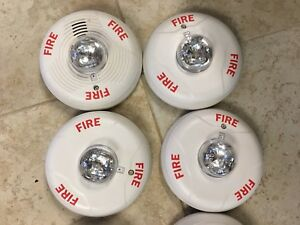 Lot 4x System Sensor Spectralert Advance Pc2w Fire Alarm Ceiling Horn Strobe