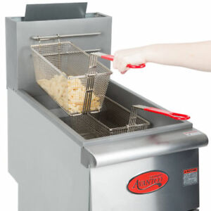 New Ff300 Commercial Natural Gas 40lb Stainless Steel Floor Deep Fryer 90000 Btu