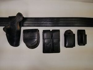 Size 38 Police security Leather Belt With Aker Accessories