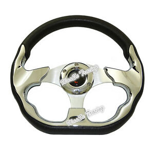 Universal 320mm Racing Sports Auto Car Steering Wheel W Horn Button Chrome 520