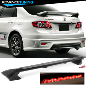 Fits 09 13 Toyota Corolla Sedan Sportive Trunk Spoiler Led 3rd Brake Lamp