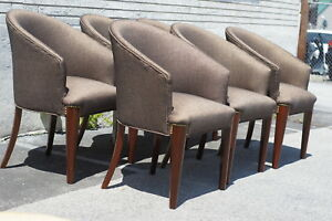 Great 6 Rose Wood Modern Dining Room Chairs 1950 S Newly Upholstered