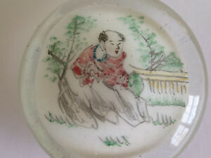 Antique Qing Chinese Glass Paperweight W Painting Of Monk In The Garden