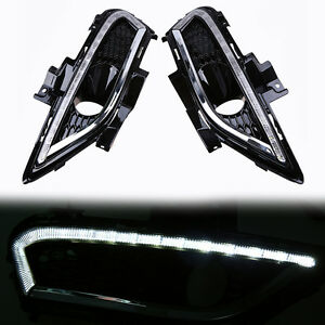 Pair Drl Fog Lamp Fits Ford Fusion Mondeo 2013 2015 Led Daytime Running Light