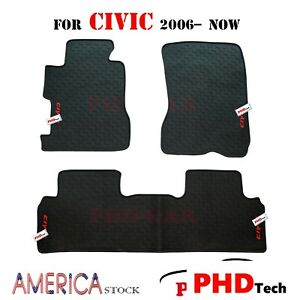Honda Civic All Weather Tailored Rubber Car Floor Mats 2006 2018 Premium Quality
