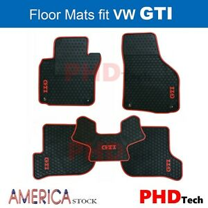 Vw Golf Gti Mk6 All Weather Tailored Rubber Car Floor Mats Red Trim