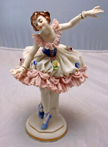 Porcelain Dresden Lace Lady Dancing Figurine Figure Volkstedt