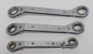 Mac Tools 3pc Double Box Ratcheting Ratchet Wrenches Row20222 Row24282 Rowm1112
