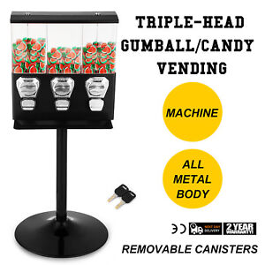 Triple Bulk Candy Vending Machine With Stand 3 head Gumballs For 25 Cent