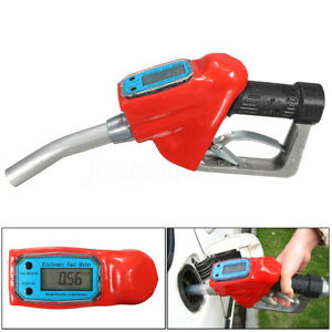 Fuel Gasoline Diesel Petrol Oil Delivery Gun Nozzle Dispenser W Flow Meter Tool