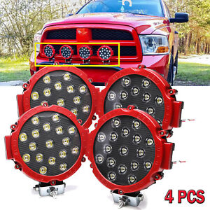 4x 51w Round Led Light Pod 7inch Spot Work Off Road Roof Bar Bumper Driving Red