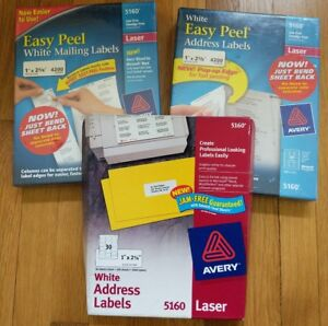 Avery Easy Peel Address Labels Laser Printer 5160 1 X 2 5 8 3 Boxes 11 000