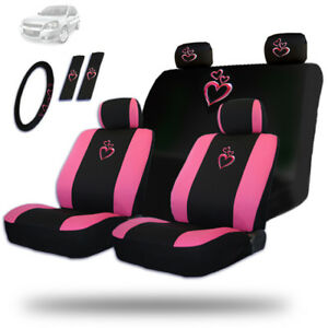 New Large Love Heart Car Suv Seat Steering Covers Set For Hyundai