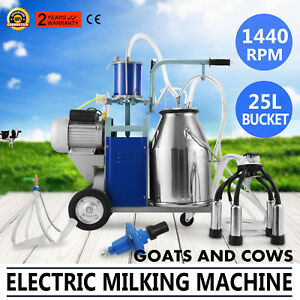 25l Electric Milking Machine For Goats Cows W bucket Vacuum Pump 550w Automatic