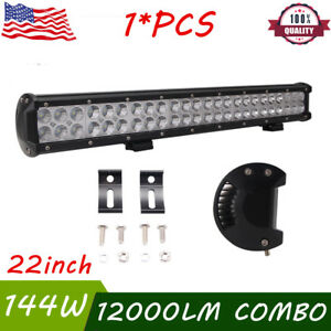 Cree 22inch 144w Led Work Light Bar Spot Flood Combo Truck Offroad 4wd 20 24