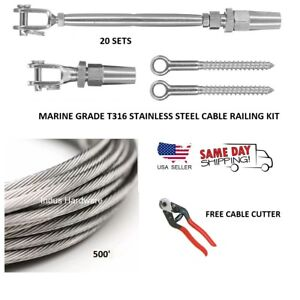 1 8 Cable Railing 316 Stainless Steel Kit 36 1 8 1 19 500 Ft full Kit For Wood