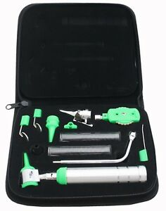 Ent Opthalmoscope Ophthalmoscope Otoscope Nasal Diagnostic Set Kit Green Color