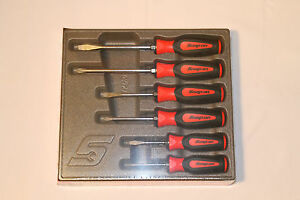 Snap On Tools Screwdriver Set Red Soft Grip Combination 6 Pc Set New Sgdx60br