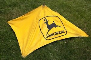 Vintage John Deere Yellow Canvas Sun Shade Farm Tractor Logo Umbrella 50 X 50