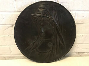 Antique Signed Chinese Or Japanese Bronze Round Plaque W Guanyin Buddha