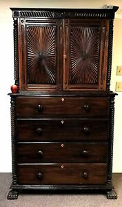 19th Century Anglo Indian Rosewood Regency Chest Of Drawers W Cabinet