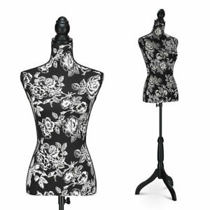 Height Adjustable Female Mannequin Torso Dress Form Display W black Tripod Stand