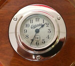 Vintage Oldsmobile Wind Up 8 Day Dash Clock Ansonia Beveled Glass Wall 1915 16