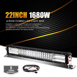 20 inch 22 Cree Led Light Bar Spot Flood Offroad 4wd Truck Atv Suv wiring Kit