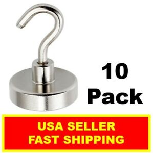 1 Inch Neodymium Hook Magnet 50lbs N52 super Strong Rare Earth 10 Pack