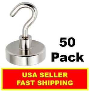 1 Inch Neodymium Hook Magnet 50lbs N52 super Strong Rare Earth 50 Pack