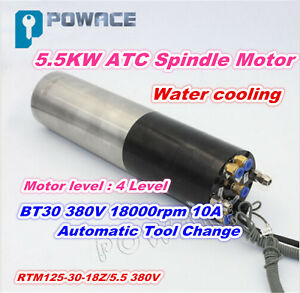 5 5kw 380v Automatic Tool Change Water Cooled Atc Spindle Motor Bt30 Engraving
