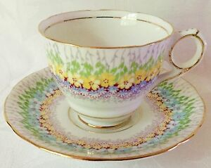 Beautiful Royal Stafford Hand Painted Glendale Bone China Cup Saucer
