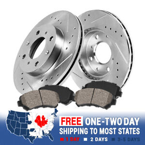 For Honda Civic Crx Del Sol Front Drill Slot Brake Rotors Ceramic Brake Pads